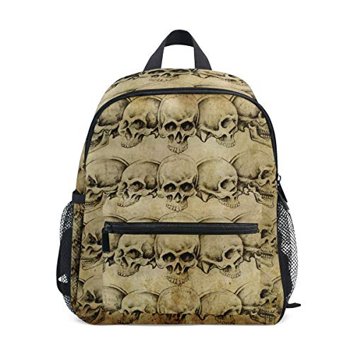 JOYPRINT Kids Backpack Vintage Skull Halloween Pattern Pre-School Bag for Toddler Kindergarten Boys Girls -