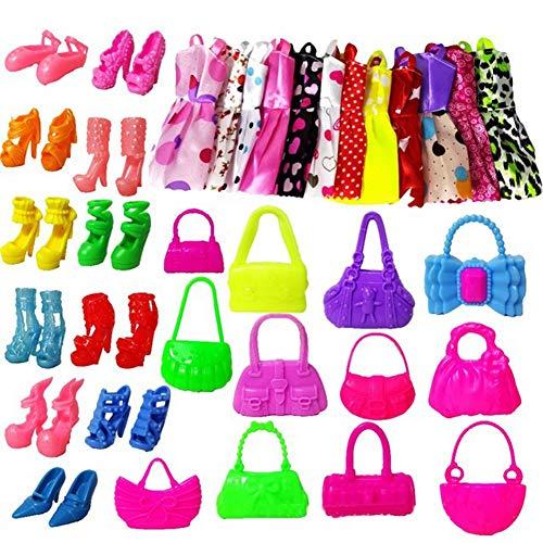 (potato001 30Pcs Doll Clothes Skirt Accessories Handbags Heels Shoes Kids Children Girl Gift Toy Random)