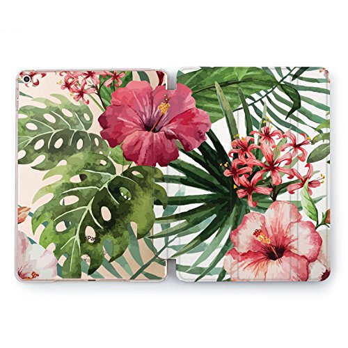 Wonder Wild iPad Mini 1 2 3 4 Air 2 Pro 10.5 12.9 Tablet 2018 2017 9.7 inch Cover Smart Stand Case Pink Tropical Hawaiian Flowers Monstera Leaves Bouquet Clear -