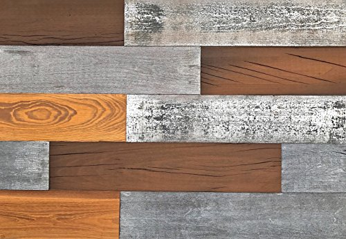 Smart Paneling 3D Barn Wood (Design 5), DIY Reclaimed Wood Wall Planks, Mixed Color (10 sq. ft. / Case) Review