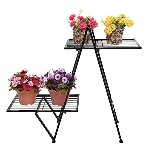 Modern 2 Tier Black Metal Designer Plant Stand / Freestanding Patio Decor Flower Planter Pot Display Rack -
