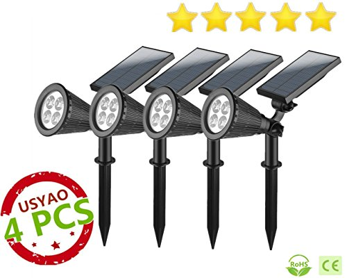 USYAO Spotlight Upgraded 4 LED 200 Lumen Sun-powered Spot Light Integrated Panel and Light, Solar Rechargeable Waterproof Black Color , with Adjustable Angle and Bright Illumination Pack of 4 (Solar Outdoor Spot Lights)