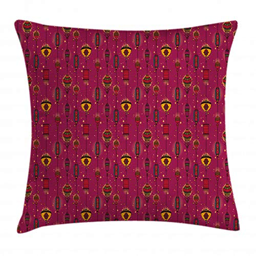 - Lunarable Lantern Throw Pillow Cushion Cover, Asian Cultural Inspirations Oriental Party Ancient Celebration Festive Art, Decorative Square Accent Pillow Case, 16 X 16 Inches, Magenta and Yellow