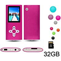 "RHDTShop MP3 MP4 Player with a 32 GB Micro SD card, Support UP to 32GB TF Card, Portable Digital Music Player / Video / Media Player / FM Radio / E-Book Reader, Ultra Slim 1.7"" LCD Screen, Pink"