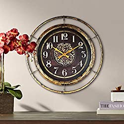 River Parks Studio Stewart 23 Wide Distressed Gold and Brown Metal Wall Clock