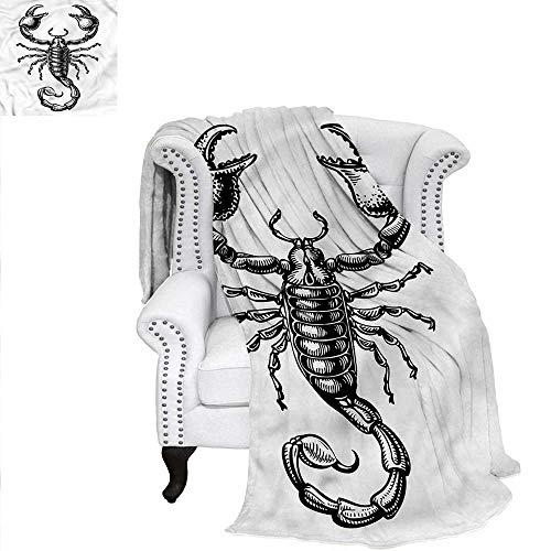 RenteriaDecor Zodiac Scorpio Throw Blanket Sketch Tattoo Warm Microfiber All Season Blanket for Bed or Couch 90
