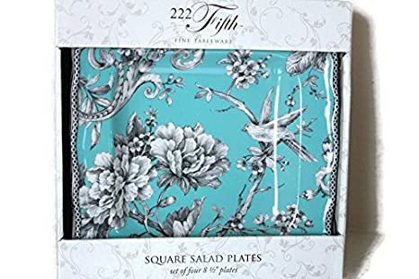 Amazon.com | 222 Fifth Adelaide Turquoise Set of Four (4) Salad ...