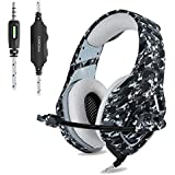 ONIKUMA PS4 Gaming Headset 3.5mm Stereo Camouflage Gaming Headphones with Noise Canceling Mic For xbox one S PC PS4 Smartphones Laptop Computer (Grey)