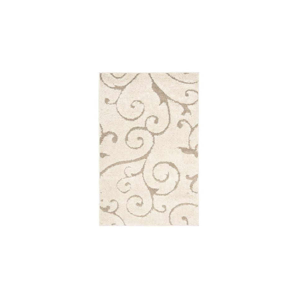 Safavieh Florida Shag Collection SG455 1113 Scrolling Vine Cream and Beige Area Rug (4 x 6)