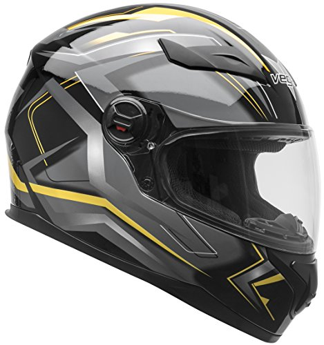 Vega Helmets AT2 Street Motorcycle Helmet for Men & Women – DOT Certified Full Face Motorbike Helmet for Cruisers Sports Street Bike Scooter Touring Moped Moto  (Yellow Flash Graphic, Large) (Vega Waterproof Motorcycle)