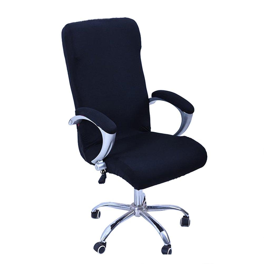 WINOMO Ufficio Computer sedia Coprisedia rotanti Coprisedili cinturino Stretch scrivania stuhlabdeckung protezione Taglia L (Nero)