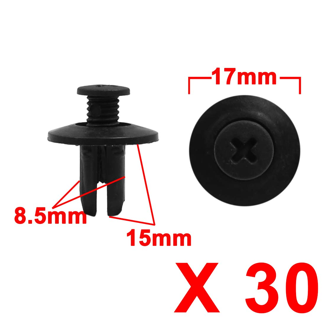 X AUTOHAUX 30pcs 8.5mm Hole Black Car Mud Flaps Push Pin Clips Plastic Rivets