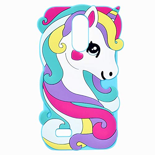Vivid Blue Unicorn Case for LG Aristo 2 Plus/Aristo 2/Zone 4/Tribute Dynasty/Fortune 2/Risio 3/Rebel 3 LTE Silicone 3D Cartoon Animal Cover,Kids Girls Cute Kawaii Soft Character Cases for LG K8 2017