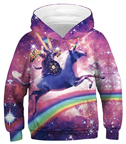 AviviRuth Kids Hooded Realistic 3D Digital Print Sweatshirt Baseball Jersey for Boys Girls,Unicorn Cat Rainbow,9-11T