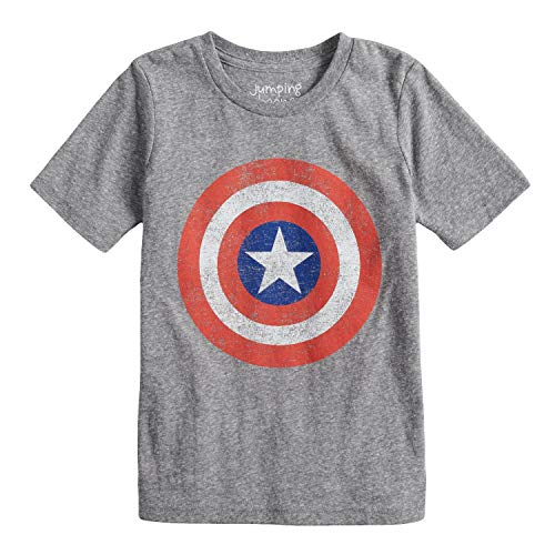 Jumping Beans Boys 4-10 Marvel Captain America Logo Graphic Tee 5 Charcoal Snow