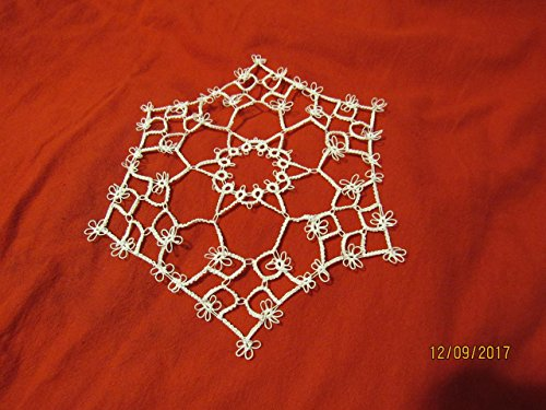 Tatted Tatting (Tatted 6 sided Doily 100% cotton White 8 inches across)