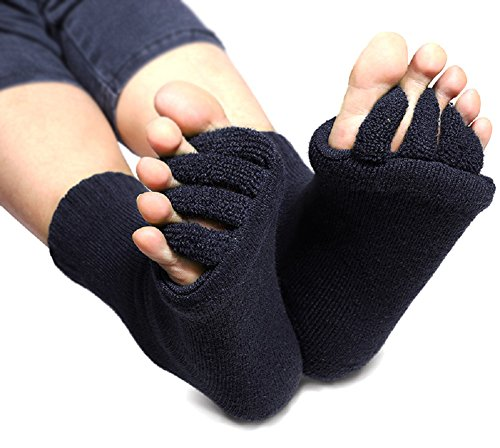 Flesser® Yoga Sports GYM Five Toe Separator Socks Alignment Pain Health Massage Socks (Black)