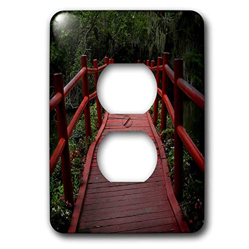 3dRose Stamp City - architecture - Photograph of red path bridge at Magnolia Plantation and Gardens. - Light Switch Covers - 2 plug outlet cover (lsp_290774_6)
