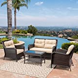 Haiden Patio Furniture ~ 4 Piece, Outdoor Wicker Conversation (Chat) Set Review