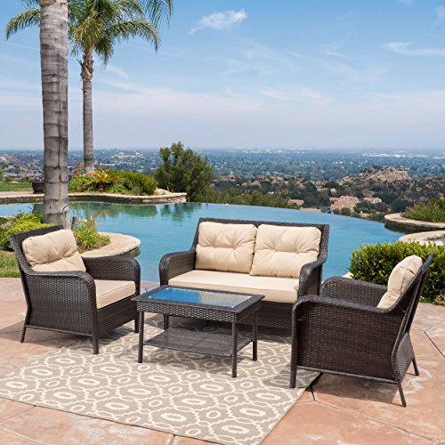 Haiden Patio Furniture 4 Piece, Outdoor Wicker Conversation Chat Set