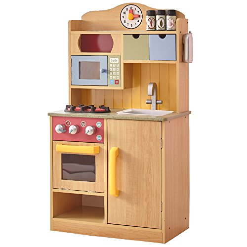 Another of the best wooden play kitchens is the Teamson Kids Little Chef Wooden Play Kitchen with Accessories