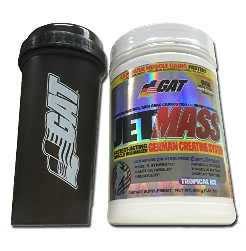 GAT Jetmass Fast-Acting Creatine Muscle Gainer, 1.81lbs with BONUS GAT Shaker Bottle (Tropical Ice)