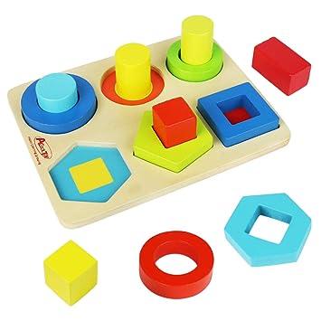 Symiu Juguetes De Madera Bloques Figuras Geometricas Rompecabezas