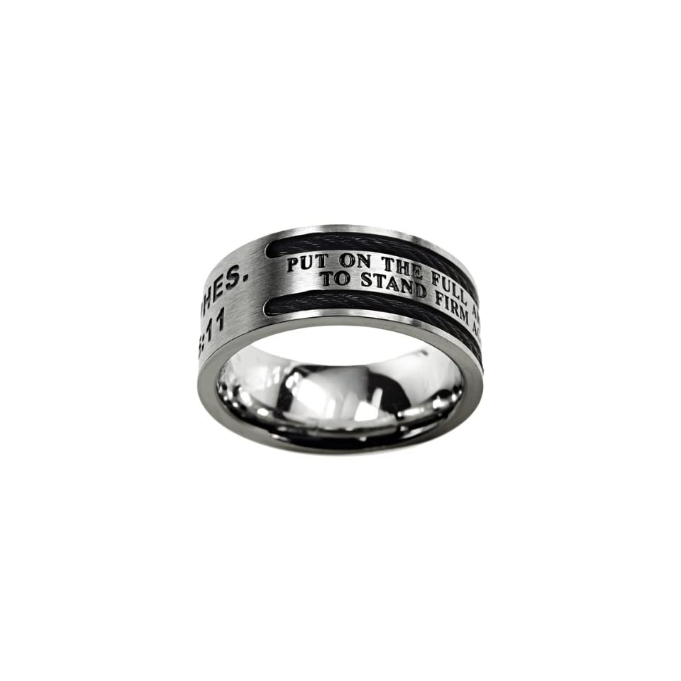 """Christian Mens Stainless Steel 10mm Abstinence Black Cable """"Put on the Full Armor of God, to Stand Firm Against the Schemes of the Devil"""" Ephesians 611 Cable Black Enamel Comfort Fit Chastity Ring for Boys   Guys Purity Ring Jewelry"""