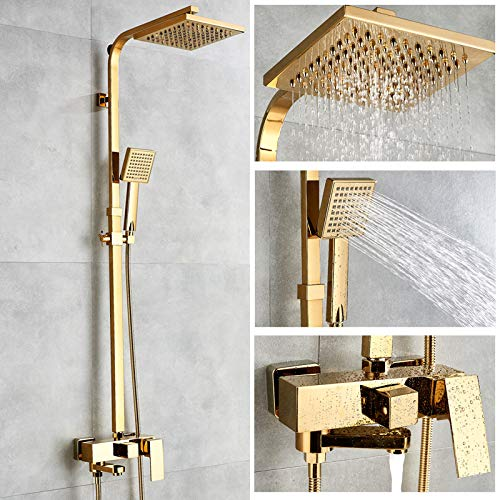 NEW, Bathtub Faucets Luxury Gold Brass Bathroom Faucet Mixer Tap Wall Mounted Hand Held Shower Head Kit Shower Faucet Sets - bathroom sink faucet for Everyone