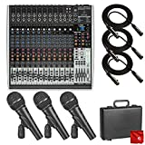 Behringer Xenyx X2442USB Premium 24-Input 4/2-Bus Mixer with USB/Audio Interface Bundle which includes 3 Pack of Behringer Dynamic Microphones and 3X Pro 10' XLR Cables and Microfiber Cleaning Cloth