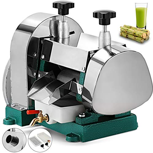 (BestEquip Manual Sugar Cane Juicer 110LBS/H Sugar Cane Juice Extractor 60%-80% Juice Extraction Rate Sugar Cane Press Extractor Stainless Steel Shell and Inside Rollers)