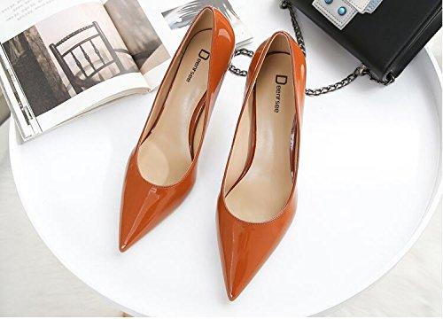 Xue Qiqi Court Schuhe Weiblicher Tipp der Weiblichen Weiblichen Spitze der Einzelnen Schuhe Weiblicher mit Braut Beschuht Wedding Schuhe Frau 32 Karamellfarbe 8CM