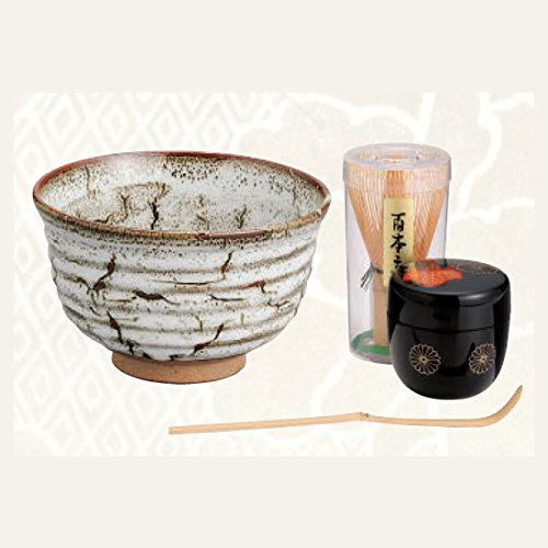 TOKYO MATCHA SELECTION - [VALUE] Matcha Bowl Set A - Bowl, Caddy, Chasen whisk, Chashaku tea scoop for Japanese Tea Ceremony [Standard ship by Int'l e-packet: with Tracking & Insurance] by Tokyo Matcha Selection