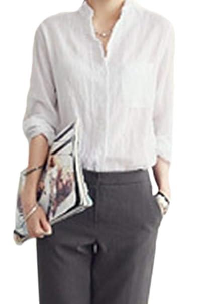 17a8cd94fd Donna Camicia Lino Manica Lunga Single Breasted Camicia Tops ...