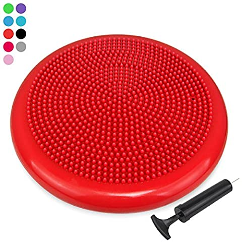 Trideer Extra Thick 34/35cm Air Stability Wobble Cushion, Core Balance Disc, Balance Boards, Posture Trainer, Fitness Stability Pad with Pump - Available in Black, Blue, Red, Orange (34cm (Wiggle Seat Red)