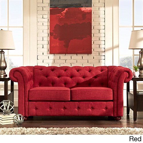 Knightsbridge Red Linen Tufted Scroll Arm Chesterfield Loveseat Sofa