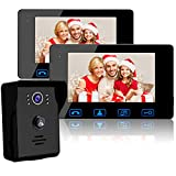 "Wired Video Doorbell Intercom System, Video Doorbell Kit with 2-7"" Color Monitor and HD Camera Night Vision for Home Security Video Door Phone Intercom"