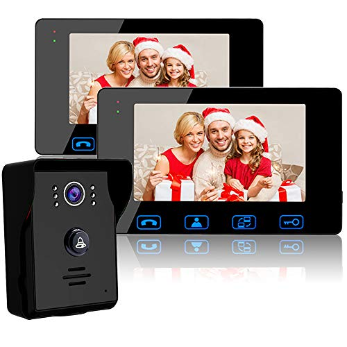 "(Wired Video Doorbell Intercom System, Video Doorbell Kit with 2-7"" Color Monitor and HD Camera Night Vision for Home Security Video Door Phone Intercom)"