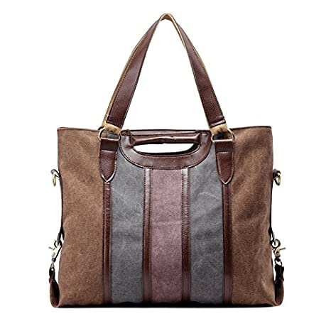 e67583ec0144 Womens Canvas Shoulder Handbag Fashion Stripe Casual Messenger Crossbody  Travel Purse for Girls Coffee