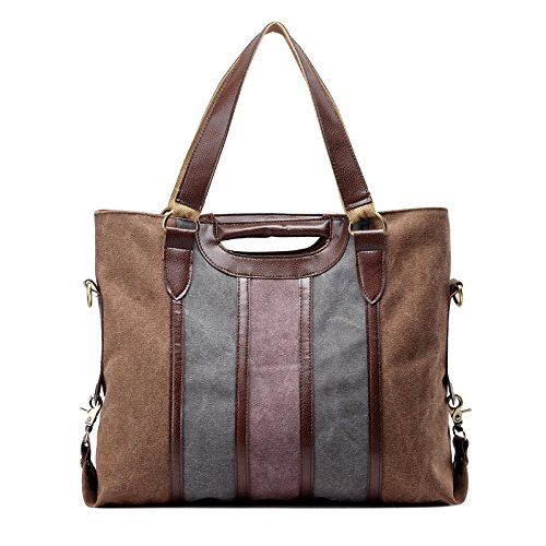 Womens Canvas Shoulder Handbag Fashion Stripe Casual Messenger Crossbody Travel Purse for Girls Coffee (Piggyback Tote)