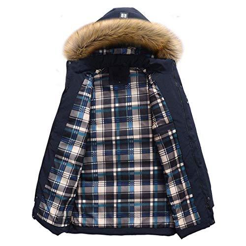 Fur Faux Zipper Coat Sizes with Hooded Blau Down Comfortable Jacket Coat Winter Outdoor fashion Jacket Coat Clothing Long HX Men's Thicken Sleeve Warm qR7OtPI