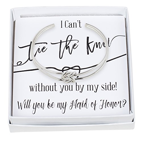 Bridesmaid Gifts - Tie The Knot Maid of Honor Cuff Bracelet with Gift Box, Double Love Knot Cuff Bracelet, Wedding Party Gift Sets (Black Note Silver Bracelet) by Lemon Honey Jewelry (Image #1)