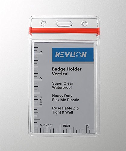 - KEYLION Waterproof PVC ID Card Badge Holder with Red Tight Zipper, Clear, Vertical Style, Pack of 10