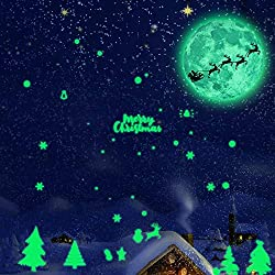 Iusun Christmas Luminous Moon Tree Removable Wall Sticker Wall Decal Wall Paper Decoration for Room Home Nursery Bedroom Office Supplies Gift (Multicolor)