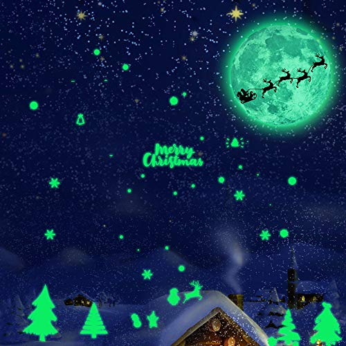 Iusun Christmas Luminous Moon Tree Removable Wall Sticker Wall Decal Wall Paper -