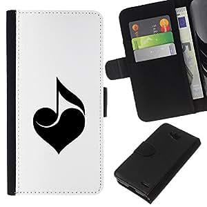 KLONGSHOP // Tirón de la caja Cartera de cuero con ranuras para tarjetas - Amo la música - LG OPTIMUS L90 //