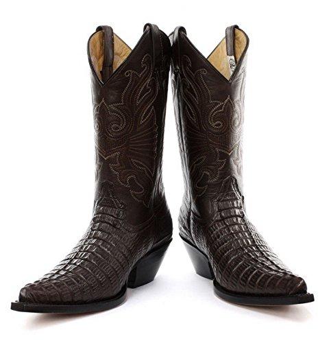 Amoladoras Carolina Brown occidentales botas de vaquero con el modelo de cocodrilo en empeine y la captura de los ojos de costura