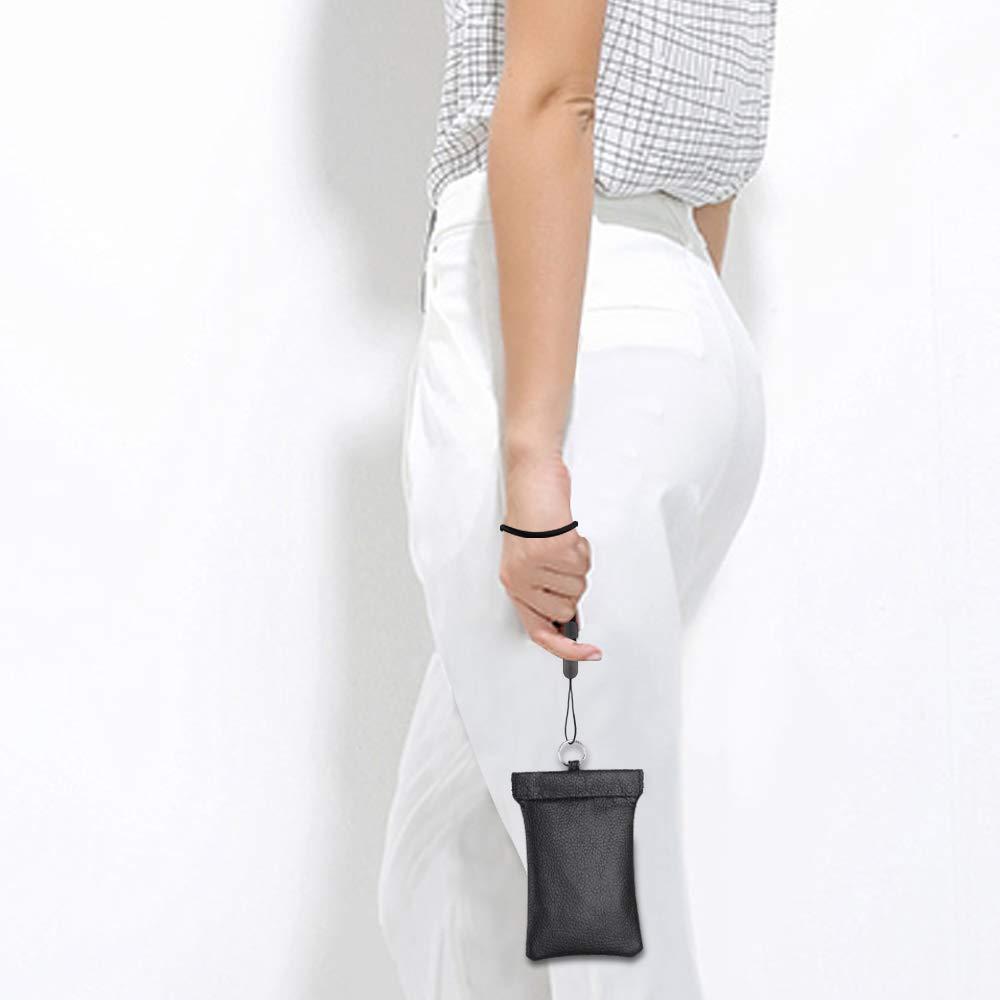 RFID Blocker for Car Keys Car Key Signal Blocking Genuine Leather Pouch Keyless Fobs Hook Design Faraday Bag BLACK 1**Extra Rope Include flintronic/® Car Key Case