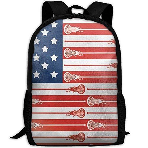 JJHGNL USA Lacrosse Sticks Flag Canvas Backpack School Bag Travel Daypack by JJHGNL
