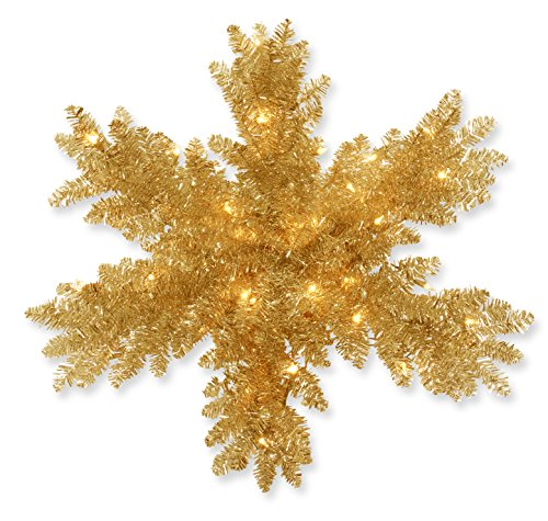 National Tree 32 Inch Champagne Gold Tinsel Snowflake wit...